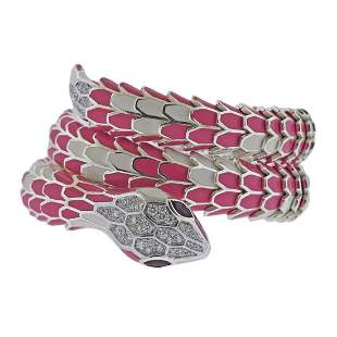 18k Gold Silver Diamond Ruby Enamel Snake Wrap Bracelet