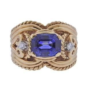 GIA No Heat 3.30ct Kashmir Sapphire 14k Gold Diamond