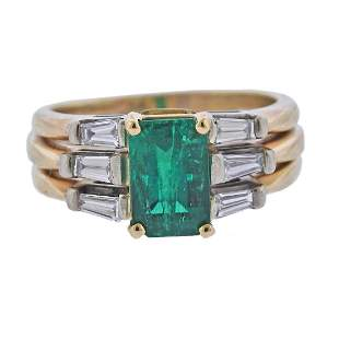 GIA 1.70ct Colombian Emerald 14k Gold Diamond Ring