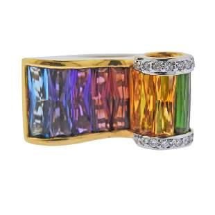 Bellarri 18k Gold Diamond Gemstone Ring