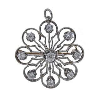 14k Gold Diamond Brooch Pendant