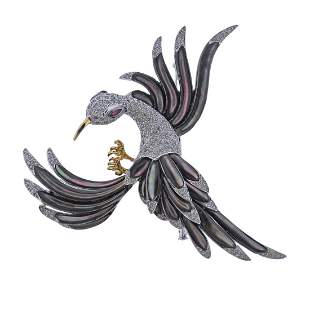 18k Gold Diamond Ruby MOP Bird Brooch Pin
