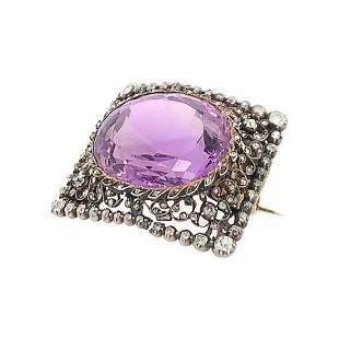 Antique Diamond Amethyst Pin