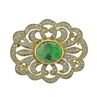 18k Gold Jade Diamond Brooch Pin