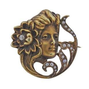Art Nouveau 14k Gold Diamond Pearl Brooch Pendant