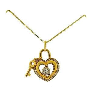 Memoire Gold Diamond Padlock Key Pendant Necklace