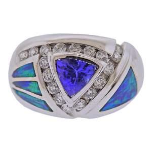 14k Gold Tanzanite Diamond Opal Ring