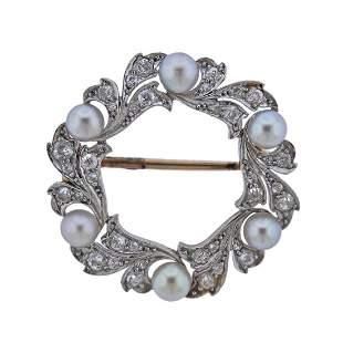 18k Gold Platinum Diamond Pearl Brooch