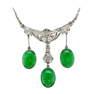 Platinum Jade Diamond Drop Necklace