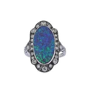 Art Deco Platinum Black Opal Diamond Ring