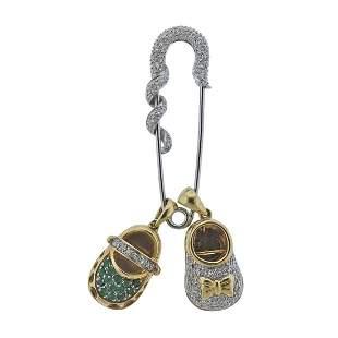 14k Gold Diamond Emerald Safety Pin Brooch