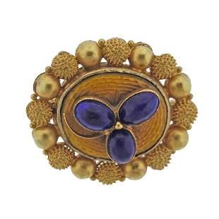 18k Gold Enamel Lapis Brooch Pin