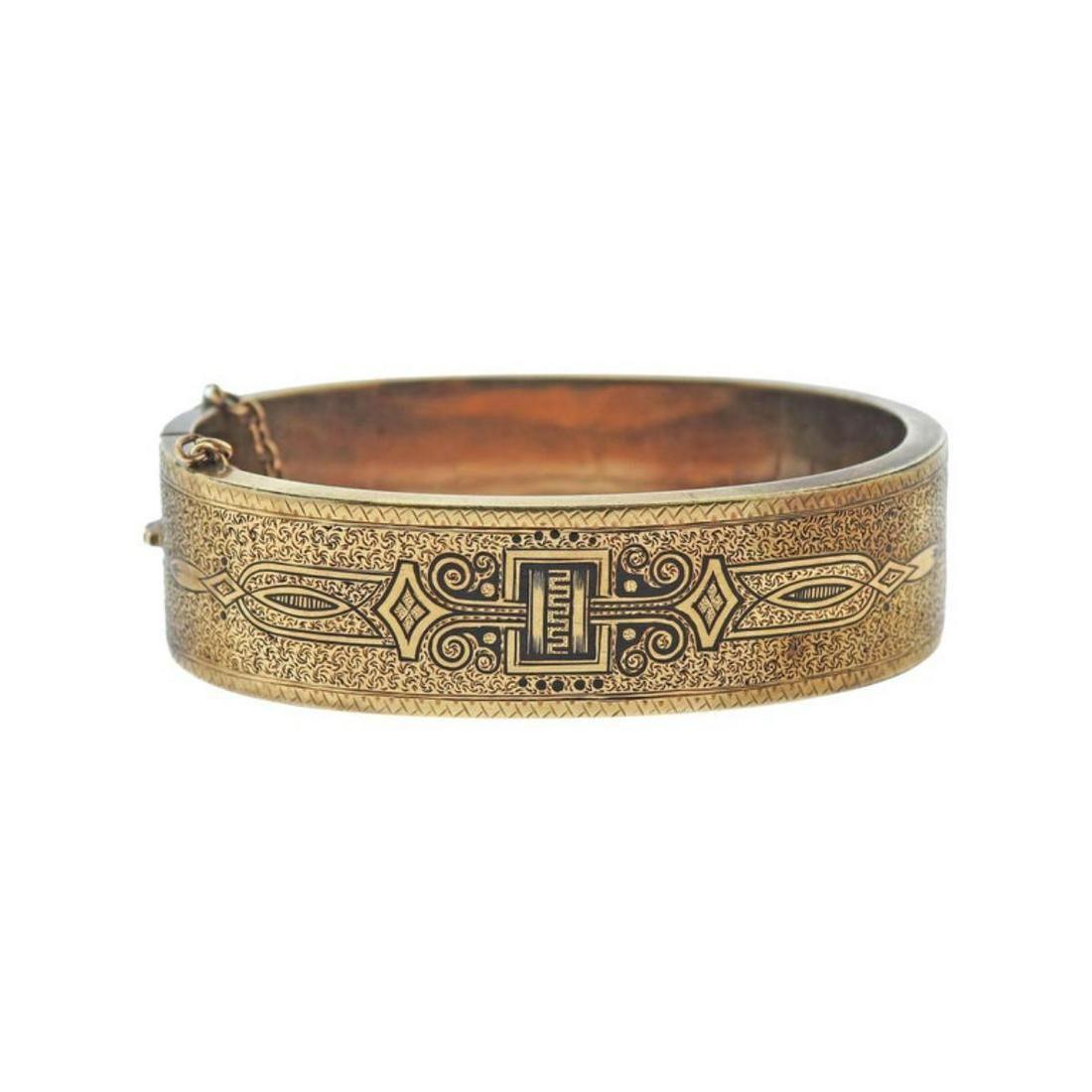 Antique Early Victorian Circa 1870s Enamel Gold Bangle