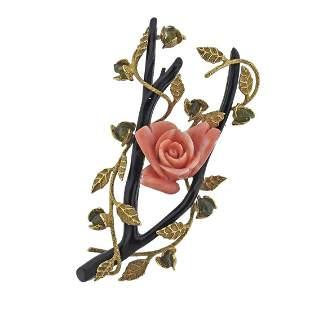 14k Gold Coral Tourmaline Enamel Flower Brooch