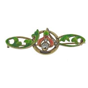 Art Nouveau 14k Gold Diamond Enamel Brooch