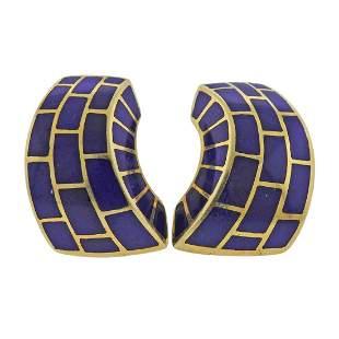 Angela Cummings 18k Gold Blue Enamel Earrings