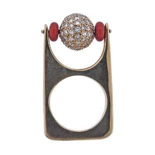 Modernist 14k Gold Diamond Coral 14k Gold Ring