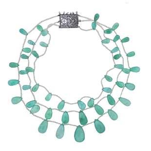 Antique Edwardian Platinum Emerald Diamond Pearl