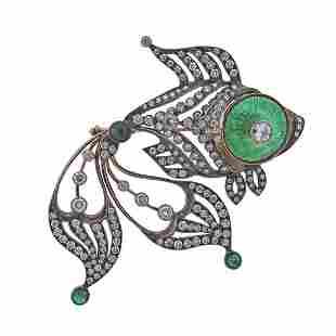 14k Gold Diamond Emerald Enamel Fish Brooch