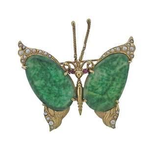 14k Gold Jade Pearl Ruby Butterfly Brooch