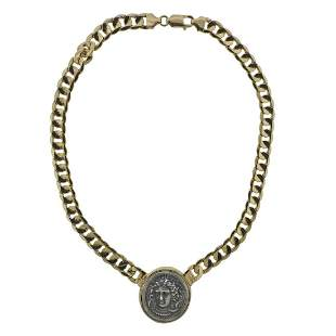 18k Gold Coin Pendant Curb Link Necklace