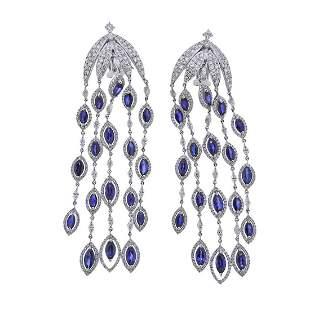 6.43ctw Diamond Sapphire Chandelier Earrings