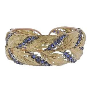 Mario Buccellati Sapphire Gold Leaf Bracelet