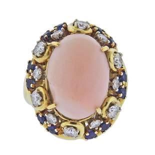 18k Gold Coral Sapphire Diamond Ring