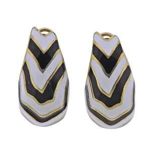 18k Gold Black White Enamel Earrings
