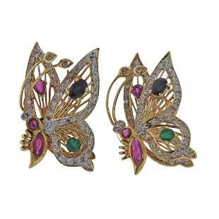 14k Gold Diamond Sapphire Emerald Ruby Butterfly