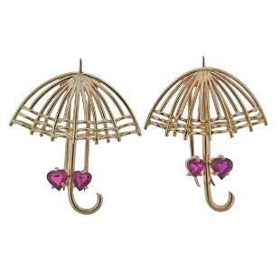 18k Gold Ruby Umbrella Brooch Set