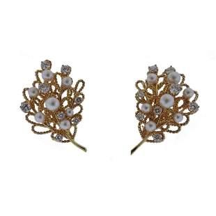 Diamond Pearl Gold Leaf Motif Earrings
