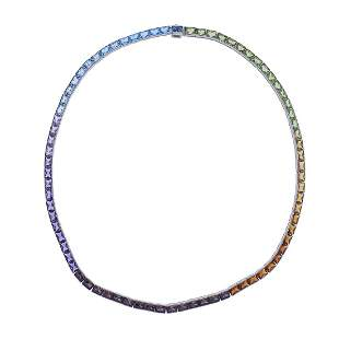 Multi Color Gemstone Gold Necklace
