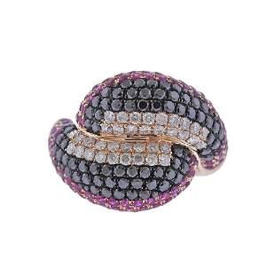 Black Diamond Ruby Rose Gold Cocktail Ring