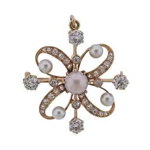 Antique 18k Gold Diamond Pearl Pendant Brooch