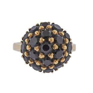 Antique 18k Gold Garnet Cluster Ring