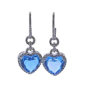 Blue Topaz Diamond Gold Heart Drop Earrings