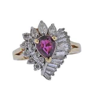 14k Gold Diamond Pink Tourmaline Ring