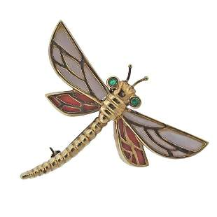 14k Gold Coral MOP Emerald Dragonfly Brooch