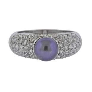 18k Gold Diamond Tahitian Pearl Ring