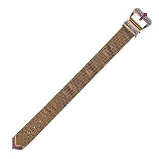 Mid Century 18k Gold Diamond Ruby Buckle Bracelet