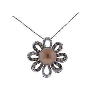 LeVian Le Vian Gold Pearl Diamond Pendant Necklace