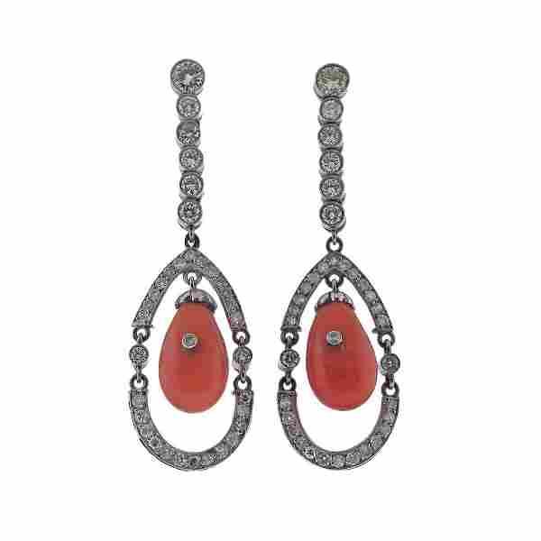 Platinum Diamond Coral Drop Earrings