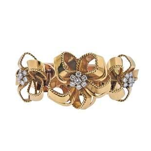Cartier London Diamond Gold Bracelet Clip Set