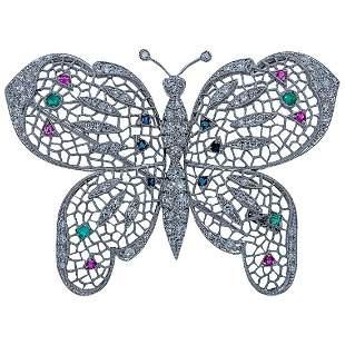 18k Gold Diamond Gemstone Butterfly Brooch