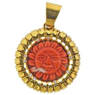 Carved Coral Sun Diamond Gold Pendant
