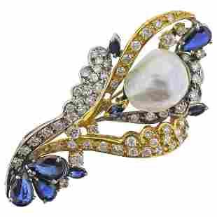 Baroque Pearl Diamond Sapphire Gold Pendant Brooch
