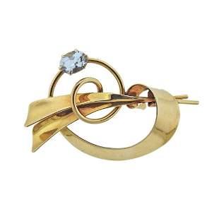 Tiffany & Co Retro 14k Gold Aquamarine Brooch