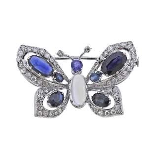 18k Gold Diamond Moonstone Sapphire Butterfly Brooch