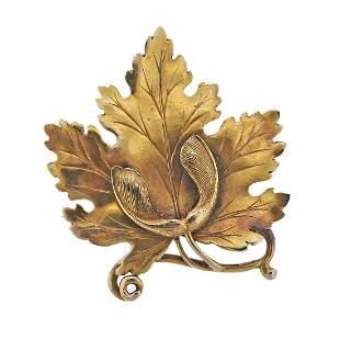 Vintage 14k Gold Leaf Brooch Pin